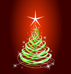 green christmas tree red background with stars vector image