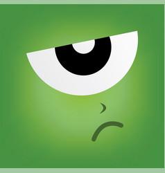 Green monster character face vector