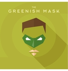 Greenish mask superhero into flat style vector image