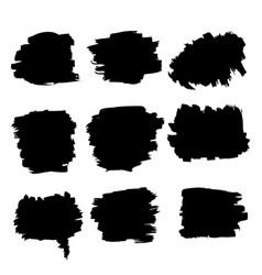 grunge black brush rough strokes set vector image