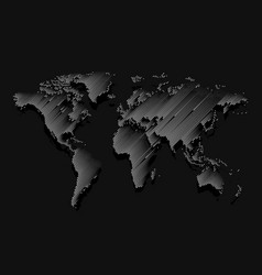 isolated black color worldmap of lines background vector image
