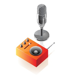 Isometric icons of microphone and radio vector image vector image