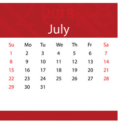 July 2018 calendar popular red premium for vector