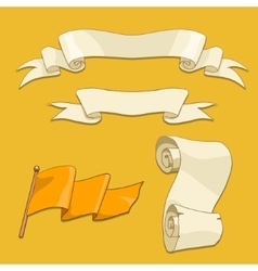 Old scroll flag and ribbon vector