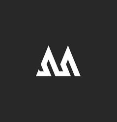 outline letter m logo hipster initial monogram vector image
