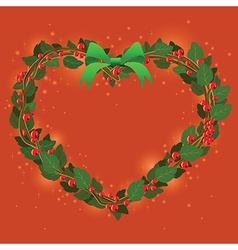 Red green wreath bouquet heart ornament for vector