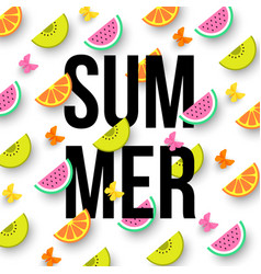 Summer colorful background with sliced citrus vector