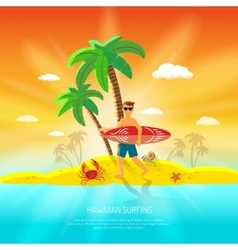 Surfing beach concept vector