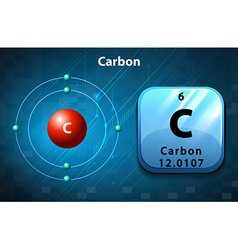 Symbol and electron diagram carbon vector