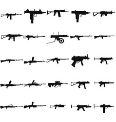 weapon machine gun set black icon on white vector image