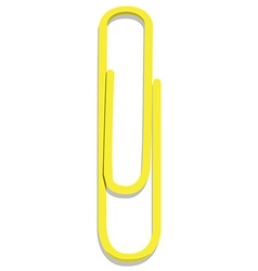 Yellow paper clip vector image vector image