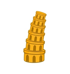 Pisa tower icon cartoon style vector