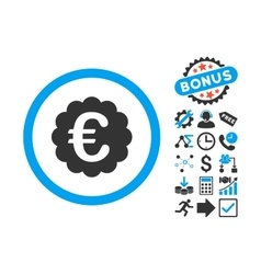 Euro quality seal flat icon with bonus vector