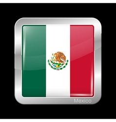 Flag of mexico metal icon square shape vector