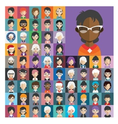 Set of people icons in flat style with faces 26 b vector