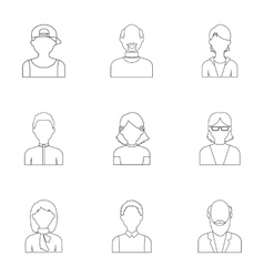 Avatar set icons in outline style big collection vector