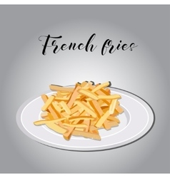 Heap of french fries on a white plate vector