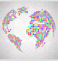 abstract globe earth from colorful pixels vector image