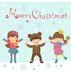 Christmas card with happy kids vector