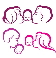 happy family silhouette vector image
