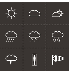 Black weather icons set vector