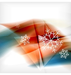 Orange Christmas blurred waves and snowflakes vector image