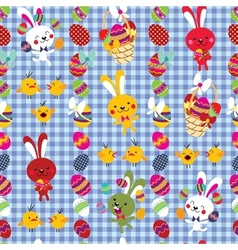 Cute easter bunnies pattern vector