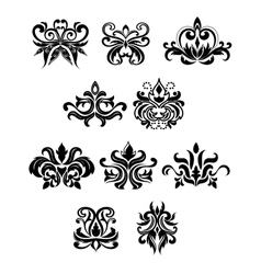 Damask black flowers set with buds vector