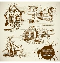 Vintage Hand Drawn Landscape Sketch Set vector image