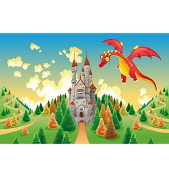 Panorama with medieval castle and dragon vector