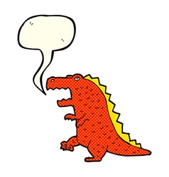 cartoon dinosaur with speech bubble vector image