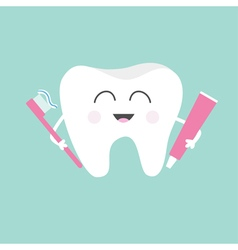 Tooth holding toothpaste and toothbrush cute funny vector