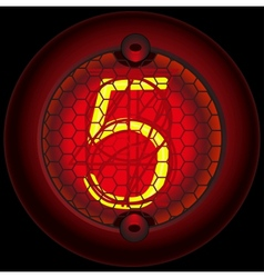 Digit 5 five nixie tube indicator vector