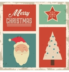 Pine santa and star icon merry christmas design vector