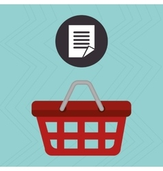 Red basket and document isolated icon design vector