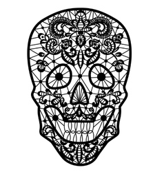 black lace skull vector image vector image