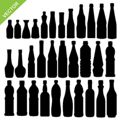 Bottle silhouettes vector image