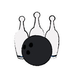 Bowling ball pin game sport vector