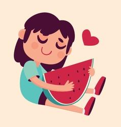 Cartoon Girl Hugging Watermelon vector image