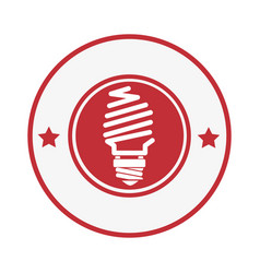 circular stamp with light bulb icon and stars vector image vector image