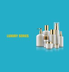 Cosmetic bottle mockup ad vector