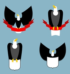 Eagle and red ribbon set black bird predator hawk vector