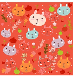 Fancy Bunny red pattern vector image vector image