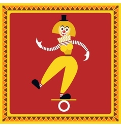 Female clown teetering on the coil vector image