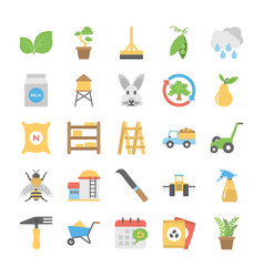 Flat icons set of farming vector