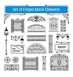 Forged metal elements set vector