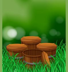 four wooden buckets in the garden vector image vector image