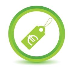 Green euro tag icon vector
