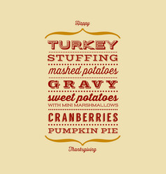 Happy thanksgiving dinner greeting card vector