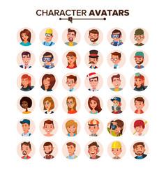 People avatars set face emotions default vector